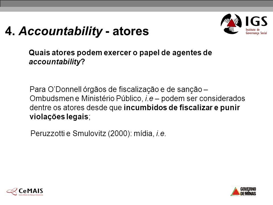 28 4. Accountability - atores Quais atores podem exercer o papel de agentes de accountability? Para ODonnell órgãos de fiscalização e de sanção – Ombu