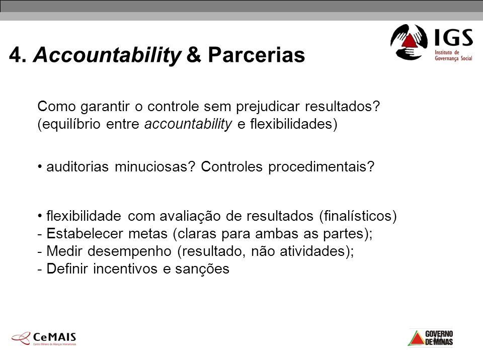 30 4. Accountability & Parcerias auditorias minuciosas? Controles procedimentais? flexibilidade com avaliação de resultados (finalísticos) - Estabelec