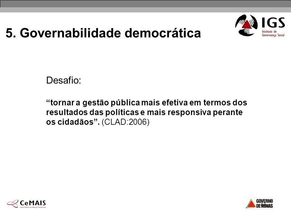 31 5. Governabilidade democrática Desafio: tornar a gestão pública mais efetiva em termos dos resultados das políticas e mais responsiva perante os ci