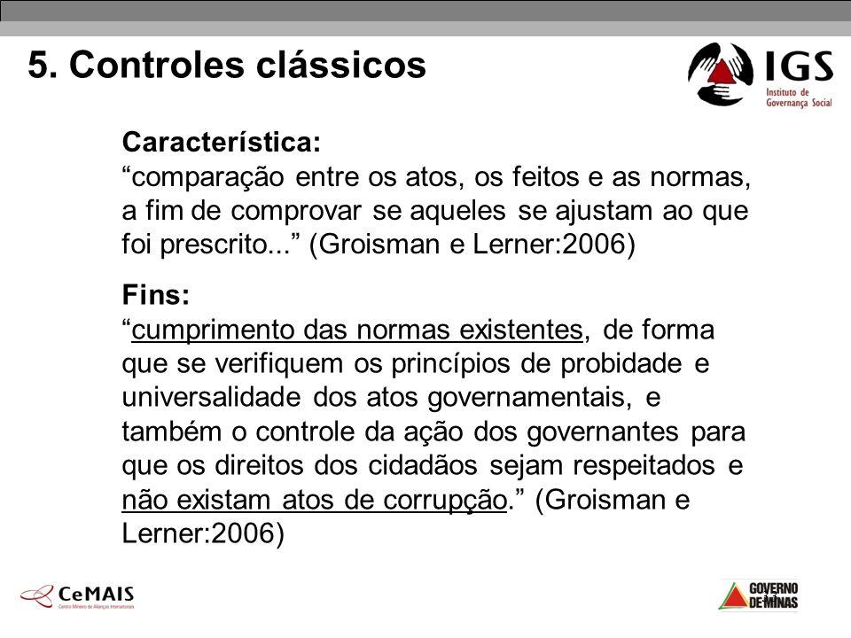 33 5. Controles clássicos Característica: comparação entre os atos, os feitos e as normas, a fim de comprovar se aqueles se ajustam ao que foi prescri