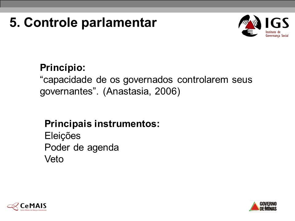 34 5. Controle parlamentar Princípio: capacidade de os governados controlarem seus governantes. (Anastasia, 2006) Principais instrumentos: Eleições Po