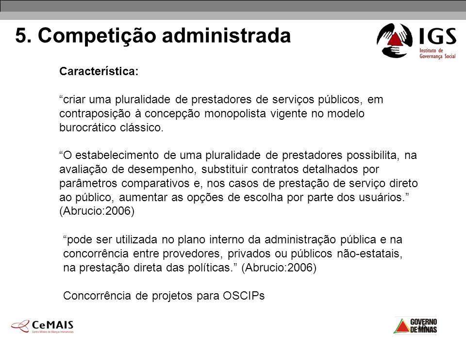 36 5. Competição administrada Característica: criar uma pluralidade de prestadores de serviços públicos, em contraposição à concepção monopolista vige