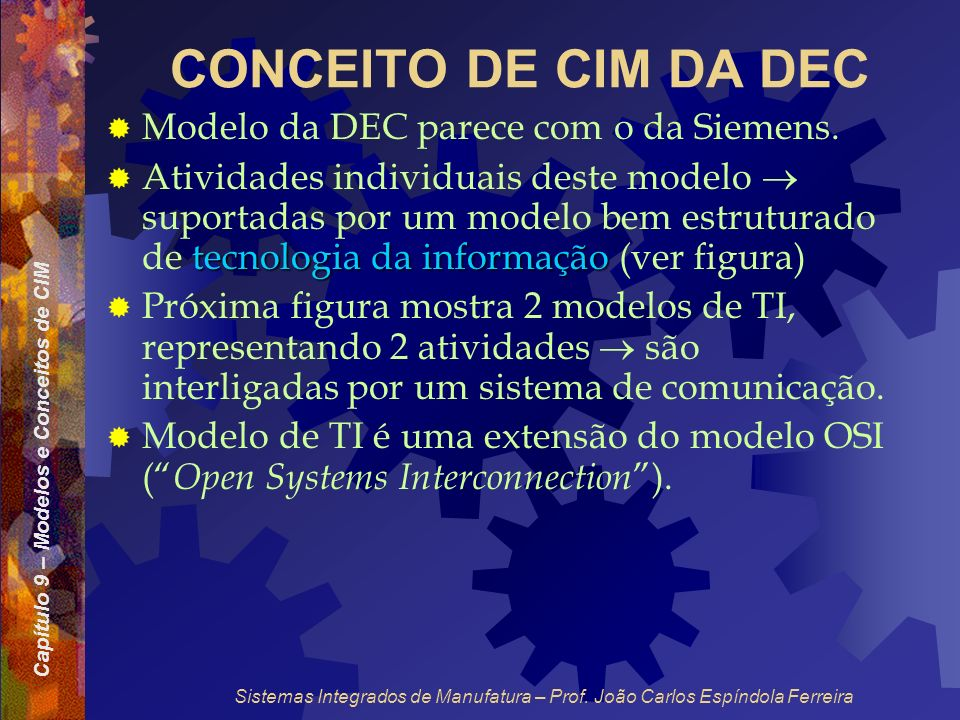 Capítulo 9 – Modelos e Conceitos de CIM Sistemas Integrados de Manufatura – Prof. João Carlos Espíndola Ferreira CONCEITO DE CIM DA DEC Modelo da DEC