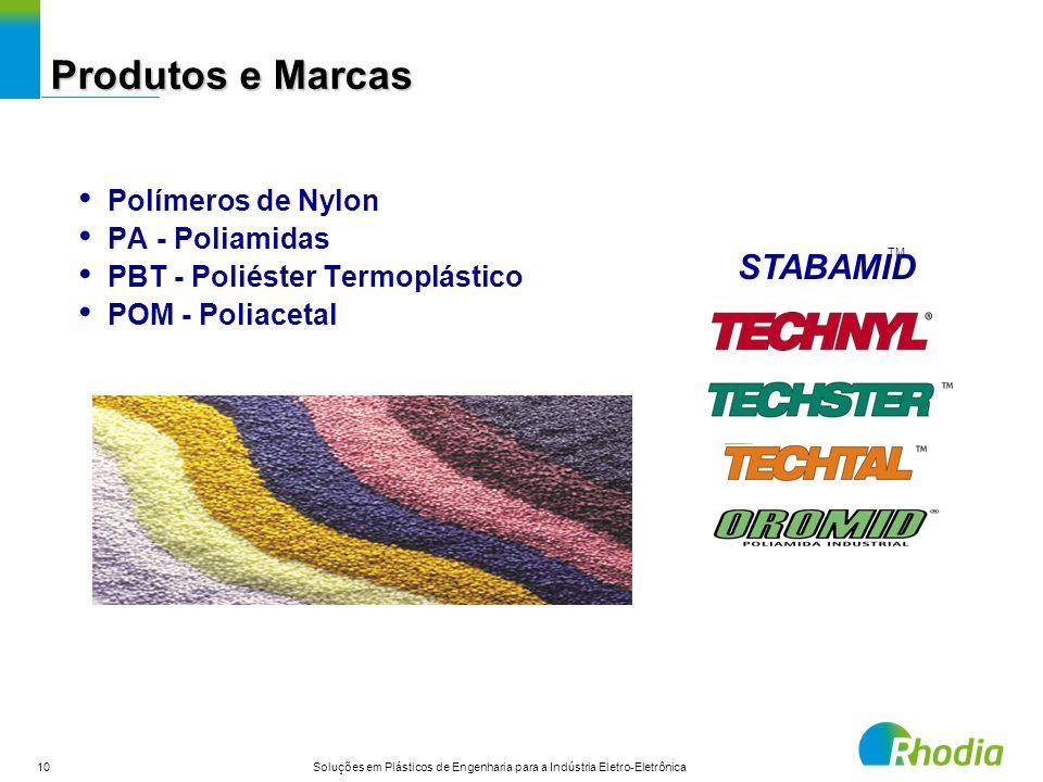 10 Soluções em Plásticos de Engenharia para a Indústria Eletro-Eletrônica Polímeros de Nylon PA - Poliamidas PBT - Poliéster Termoplástico POM - Polia