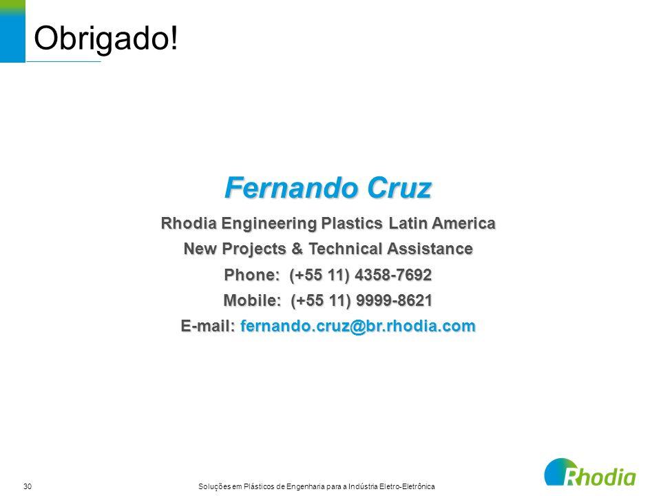 30 Soluções em Plásticos de Engenharia para a Indústria Eletro-Eletrônica Obrigado! Fernando Cruz Rhodia Engineering Plastics Latin America New Projec