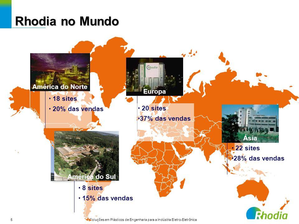 5 Soluções em Plásticos de Engenharia para a Indústria Eletro-Eletrônica 18 sites 20% das vendas Europa 22 sites 28% das vendas Ásia 8 sites 15% das v
