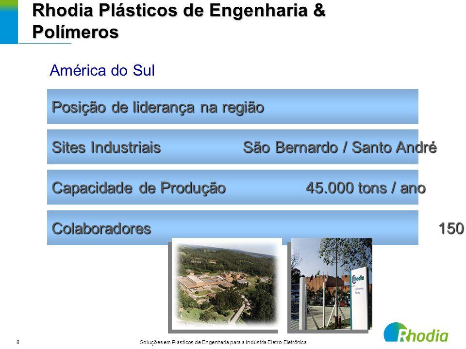 8 Soluções em Plásticos de Engenharia para a Indústria Eletro-Eletrônica Capacidade de Produção 45.000 tons / ano Posição de liderança na região Sites