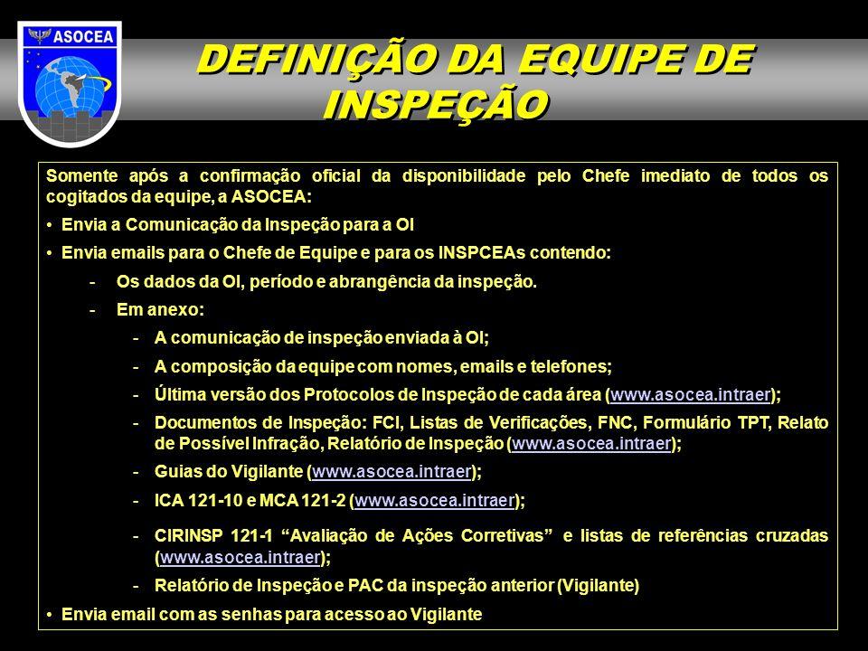Somente após a confirmação oficial da disponibilidade pelo Chefe imediato de todos os cogitados da equipe, a ASOCEA: Envia a Comunicação da Inspeção p