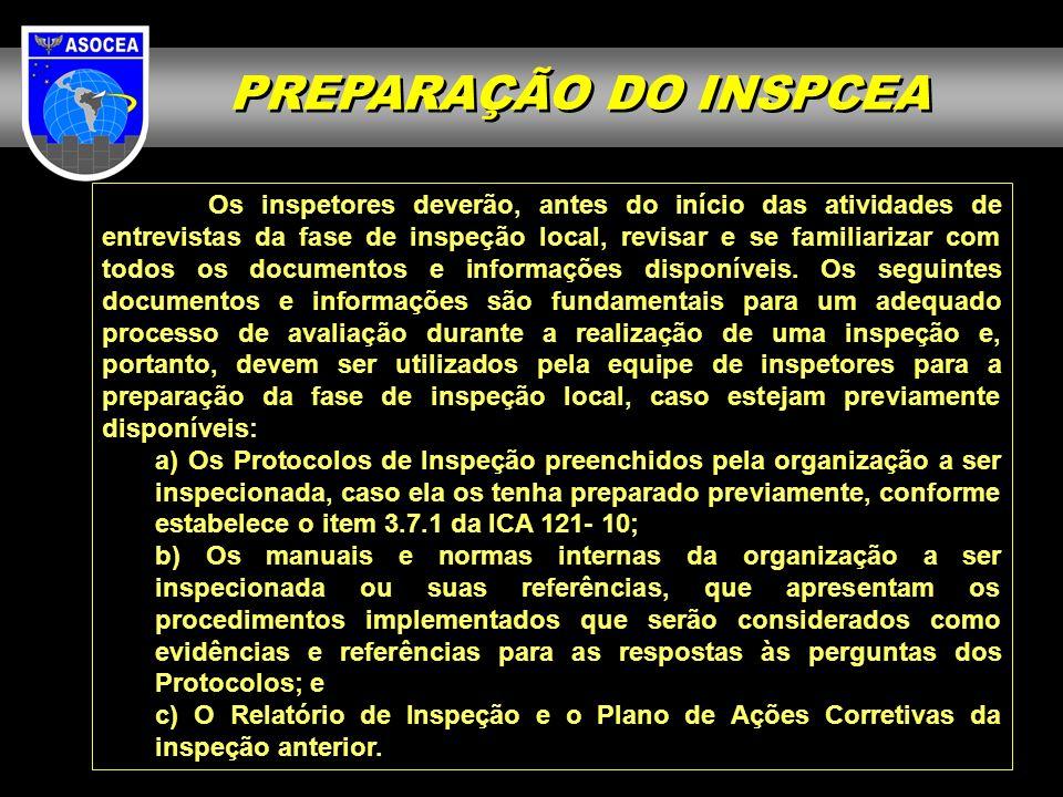 Os inspetores deverão, antes do início das atividades de entrevistas da fase de inspeção local, revisar e se familiarizar com todos os documentos e in