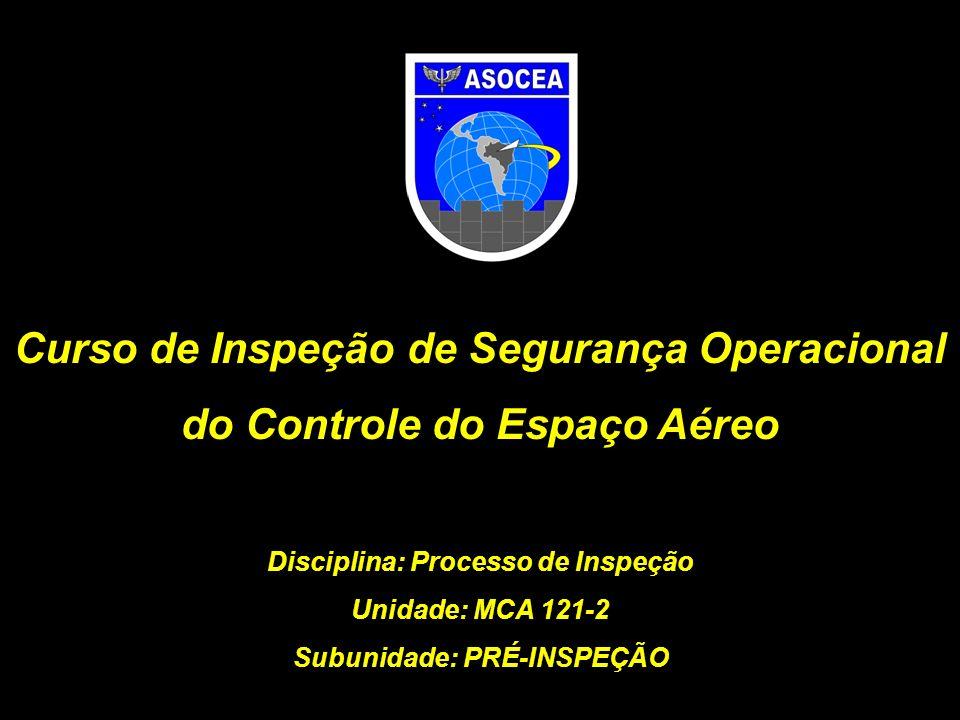 MCA 121-10 preparação para a inspeção É essencial que o INSPCEA realize uma preparação para a inspeção, reunindo os dados da organização inspecionada na fase de Pré- Inspeção e atualizando-se sobre o conteúdo do protocolo e correspondentes referências normativas.