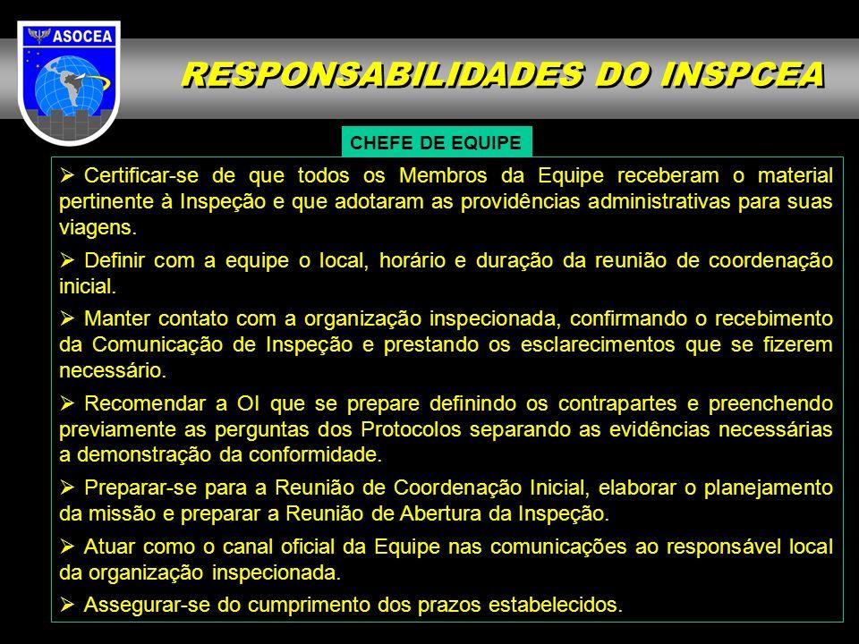 RESPONSABILIDADES DO INSPCEA CHEFE DE EQUIPE Certificar-se de que todos os Membros da Equipe receberam o material pertinente à Inspeção e que adotaram
