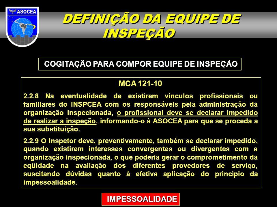 COGITAÇÃO PARA COMPOR EQUIPE DE INSPEÇÃO MCA 121-10 2.2.8 Na eventualidade de existirem vínculos profissionais ou familiares do INSPCEA com os respons