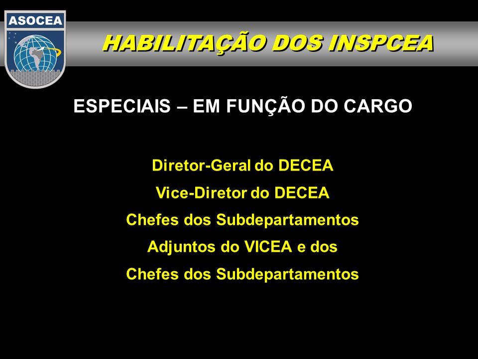 ESPECIAIS – EM FUNÇÃO DO CARGO Diretor-Geral do DECEA Vice-Diretor do DECEA Chefes dos Subdepartamentos Adjuntos do VICEA e dos Chefes dos Subdepartam