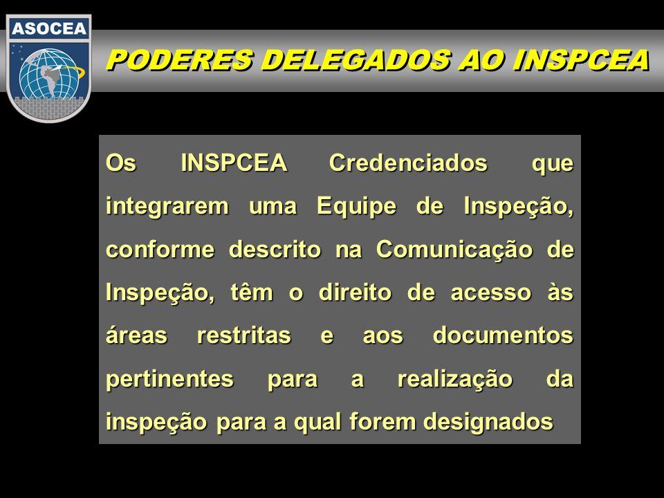 Os INSPCEA Credenciados que integrarem uma Equipe de Inspeção, conforme descrito na Comunicação de Inspeção, têm o direito de acesso às áreas restrita