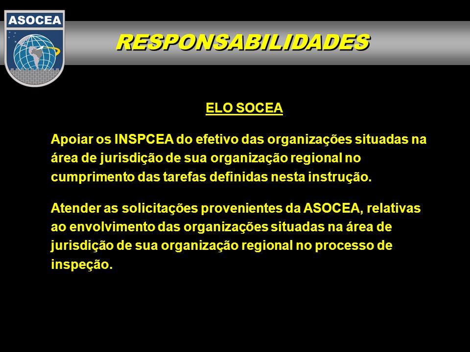 RESPONSABILIDADES ELO SOCEA Apoiar os INSPCEA do efetivo das organizações situadas na área de jurisdição de sua organização regional no cumprimento da