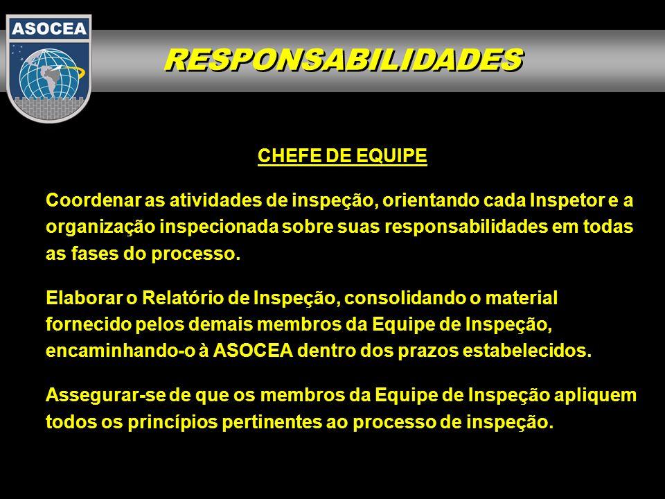 RESPONSABILIDADES CHEFE DE EQUIPE Coordenar as atividades de inspeção, orientando cada Inspetor e a organização inspecionada sobre suas responsabilida