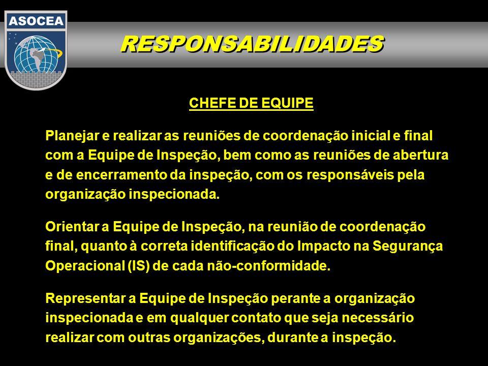 RESPONSABILIDADES CHEFE DE EQUIPE Planejar e realizar as reuniões de coordenação inicial e final com a Equipe de Inspeção, bem como as reuniões de abe