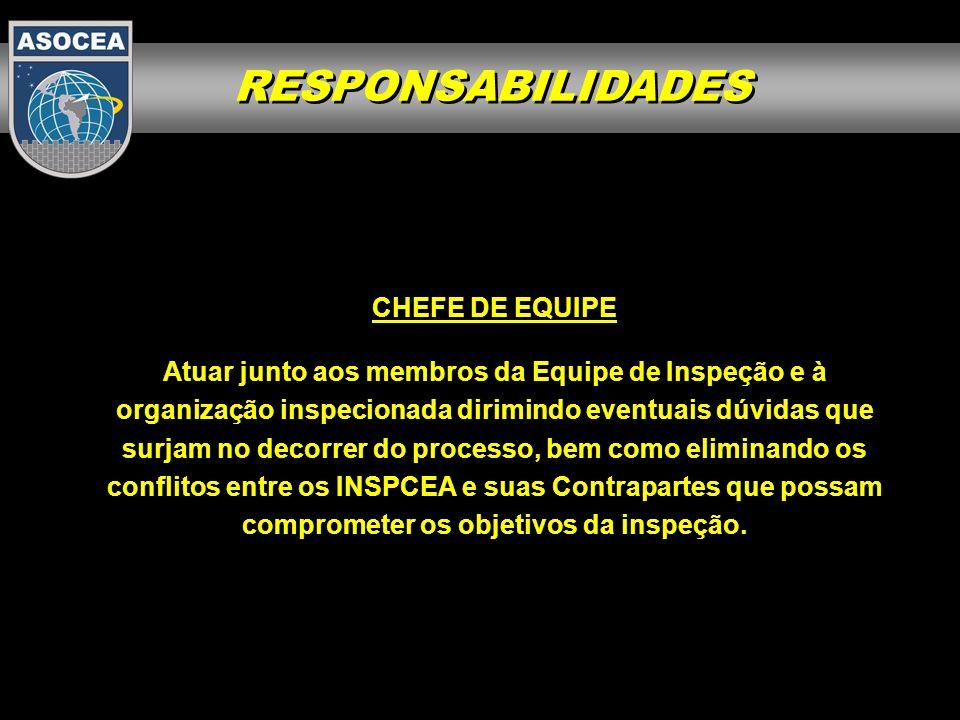 RESPONSABILIDADES CHEFE DE EQUIPE Atuar junto aos membros da Equipe de Inspeção e à organização inspecionada dirimindo eventuais dúvidas que surjam no