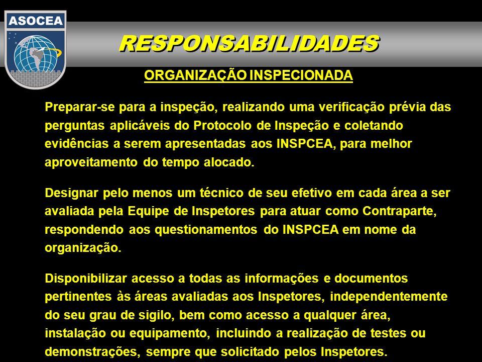 RESPONSABILIDADES ORGANIZAÇÃO INSPECIONADA Preparar-se para a inspeção, realizando uma verificação prévia das perguntas aplicáveis do Protocolo de Ins