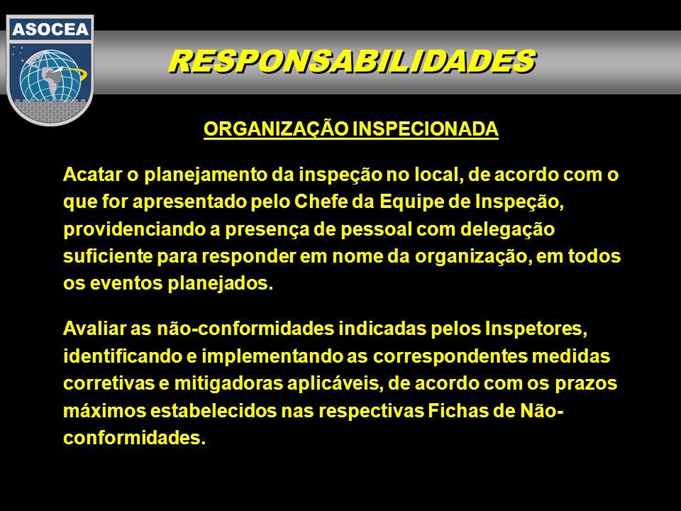 RESPONSABILIDADES ORGANIZAÇÃO INSPECIONADA Acatar o planejamento da inspeção no local, de acordo com o que for apresentado pelo Chefe da Equipe de Ins