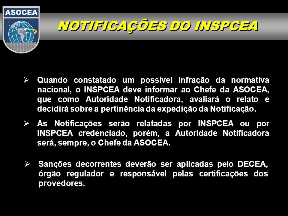 NOTIFICAÇÕES DO INSPCEA As Notificações serão relatadas por INSPCEA ou por INSPCEA credenciado, porém, a Autoridade Notificadora será, sempre, o Chefe