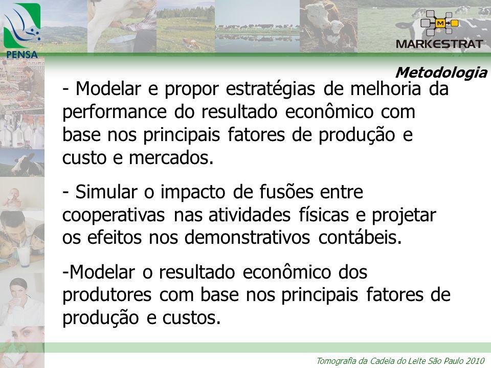 Tomografia da Cadeia do Leite São Paulo 2010 Metodologia - Modelar e propor estratégias de melhoria da performance do resultado econômico com base nos