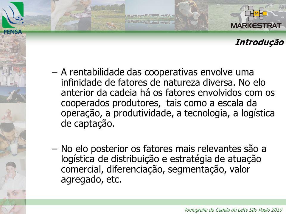 Tomografia da Cadeia do Leite São Paulo 2010 –A rentabilidade das cooperativas envolve uma infinidade de fatores de natureza diversa. No elo anterior