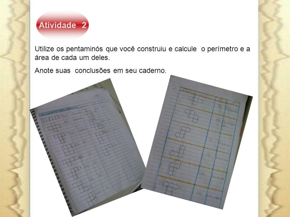 Atividade 2 Utilize os pentaminós que você construiu e calcule o perímetro e a área de cada um deles. Anote suas conclusões em seu caderno.