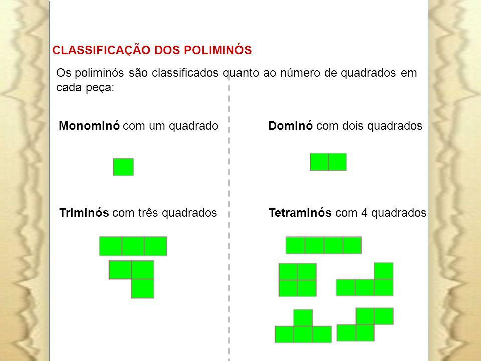 CLASSIFICAÇÃO DOS POLIMINÓS Monominó com um quadrado Dominó com dois quadrados Triminós com três quadrados Tetraminós com 4 quadrados Os poliminós são