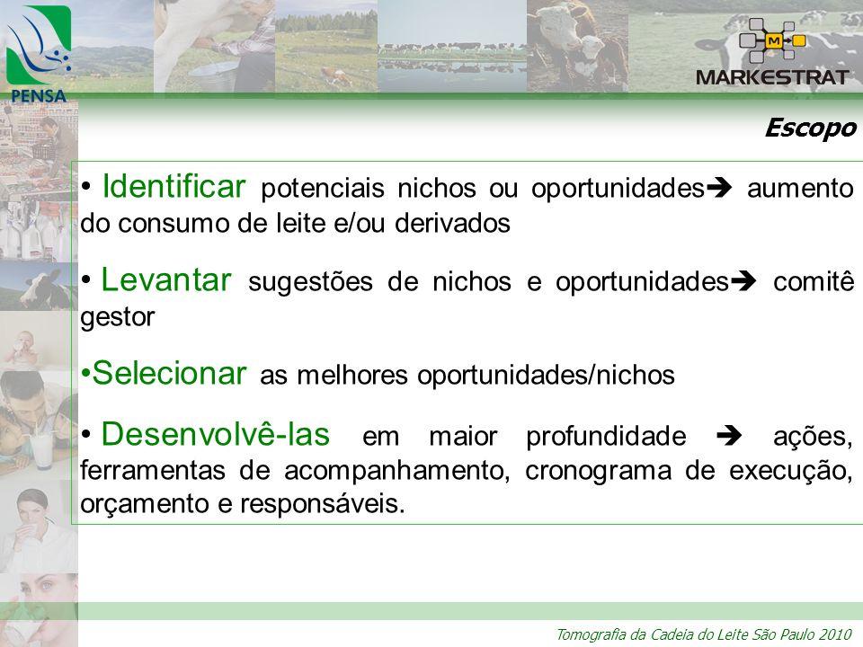 Tomografia da Cadeia do Leite São Paulo 2010 Escopo Identificar potenciais nichos ou oportunidades aumento do consumo de leite e/ou derivados Levantar