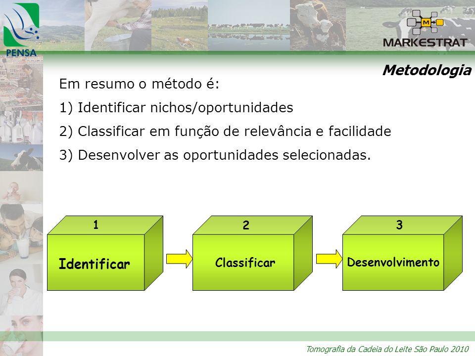 Tomografia da Cadeia do Leite São Paulo 2010 Metodologia Em resumo o método é: 1) Identificar nichos/oportunidades 2) Classificar em função de relevância e facilidade 3) Desenvolver as oportunidades selecionadas.