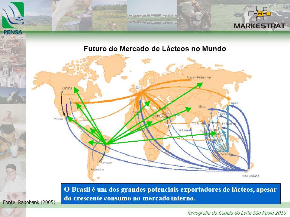 Tomografia da Cadeia do Leite São Paulo 2010 Futuro do Mercado de Lácteos no Mundo Fonte: Rabobank (2005) O Brasil é um dos grandes potenciais exporta