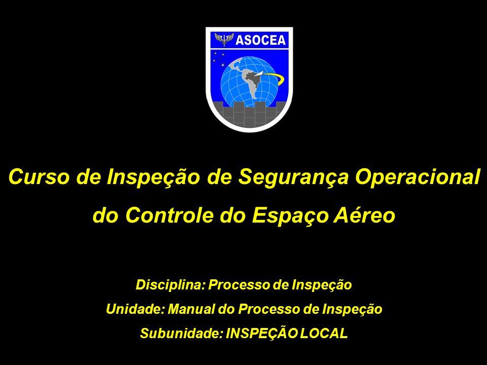 OBJETIVO Identificar os principais aspectos do Manual de Inspeção do Controle do Espaço Aéreo concernentes à fase de inspeção local.