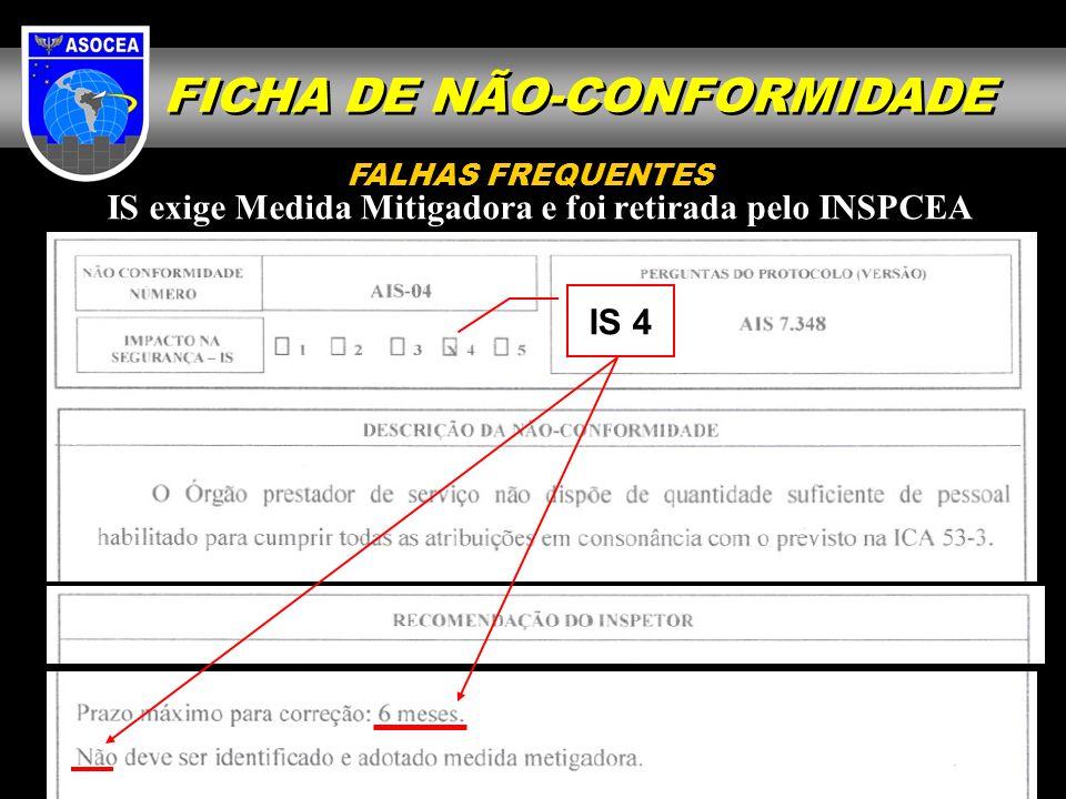 IS exige Medida Mitigadora e foi retirada pelo INSPCEA IS 4 FALHAS FREQUENTES FICHA DE NÃO-CONFORMIDADE