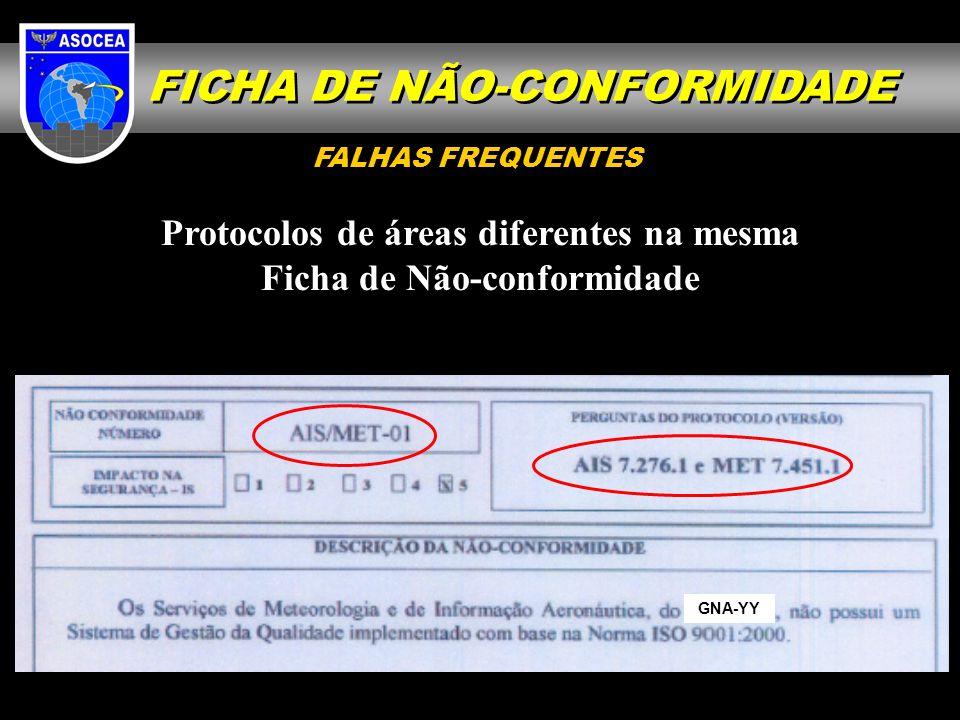 GNA-YY Protocolos de áreas diferentes na mesma Ficha de Não-conformidade FALHAS FREQUENTES FICHA DE NÃO-CONFORMIDADE