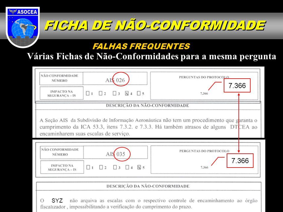 Várias Fichas de Não-Conformidades para a mesma pergunta SYZ 7.366 FALHAS FREQUENTES FICHA DE NÃO-CONFORMIDADE