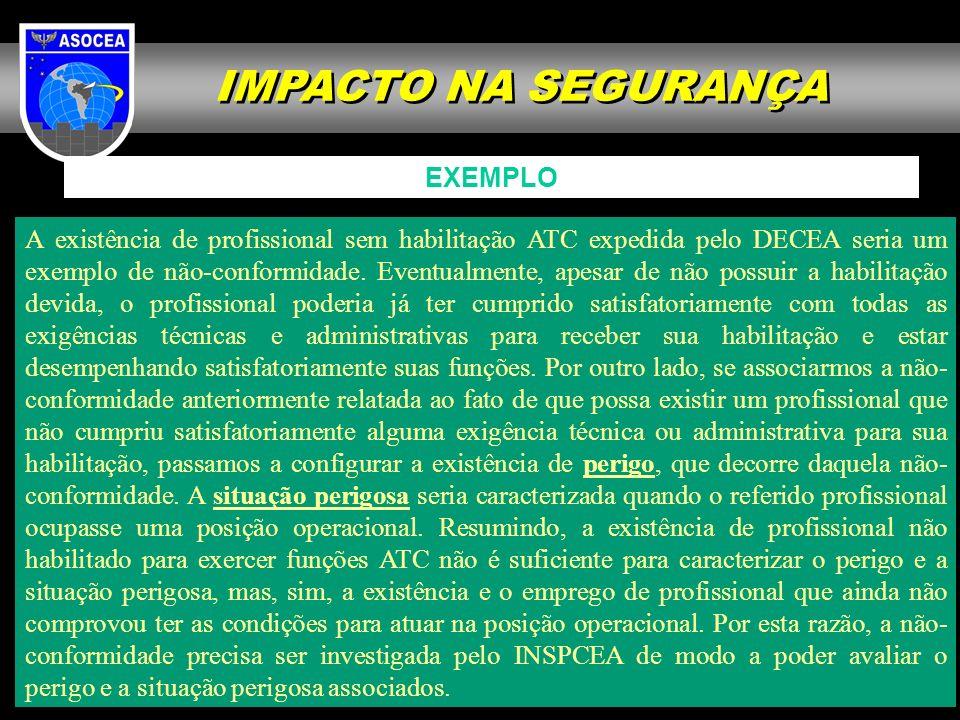 IMPACTO NA SEGURANÇA A existência de profissional sem habilitação ATC expedida pelo DECEA seria um exemplo de não-conformidade. Eventualmente, apesar