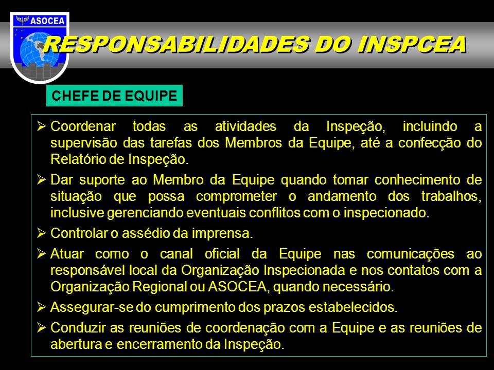 RESPONSABILIDADES DO INSPCEA CHEFE DE EQUIPE Coordenar todas as atividades da Inspeção, incluindo a supervisão das tarefas dos Membros da Equipe, até