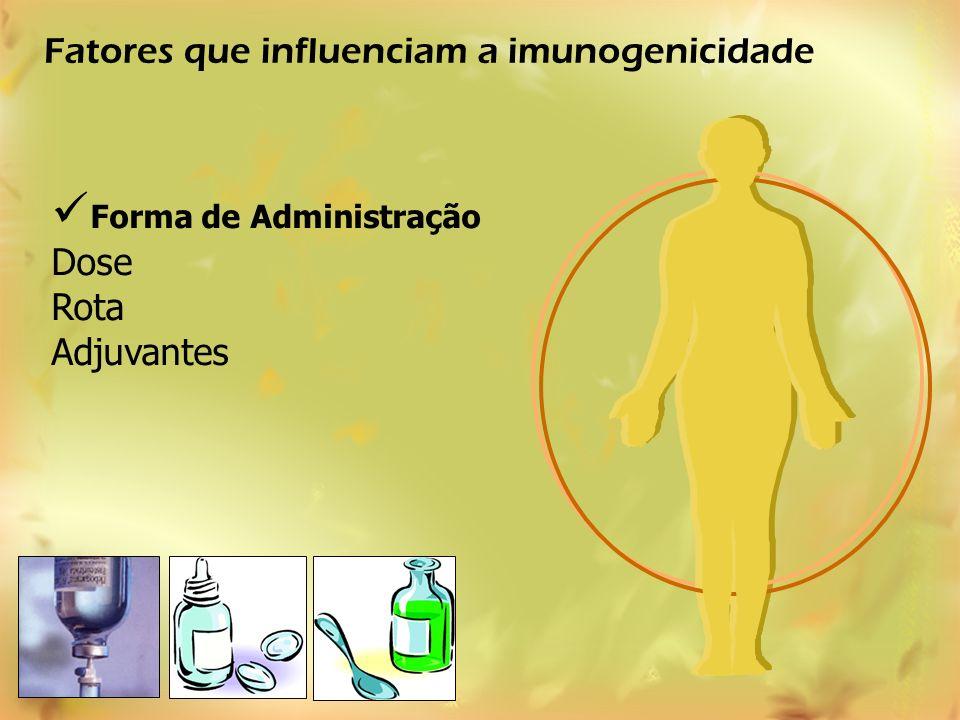 Forma de Administração Dose Rota Adjuvantes Fatores que influenciam a imunogenicidade