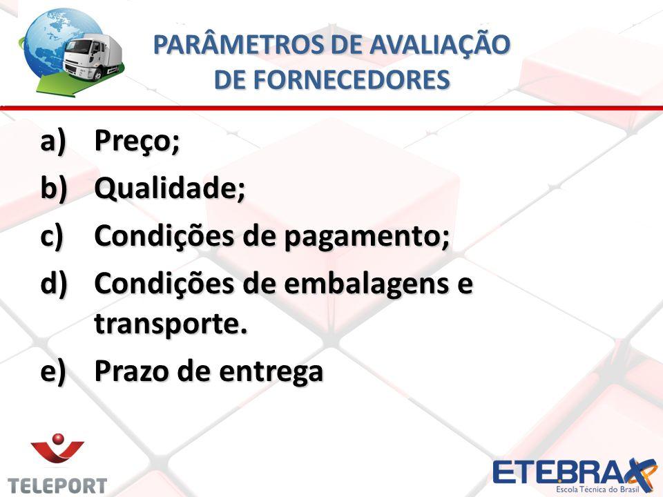 PARÂMETROS DE AVALIAÇÃO DE FORNECEDORES a)Preço; b)Qualidade; c)Condições de pagamento; d)Condições de embalagens e transporte.