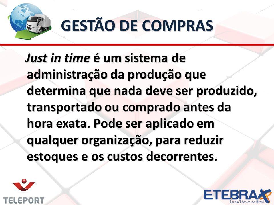 GESTÃO DE COMPRAS Just in time é um sistema de administração da produção que determina que nada deve ser produzido, transportado ou comprado antes da hora exata.