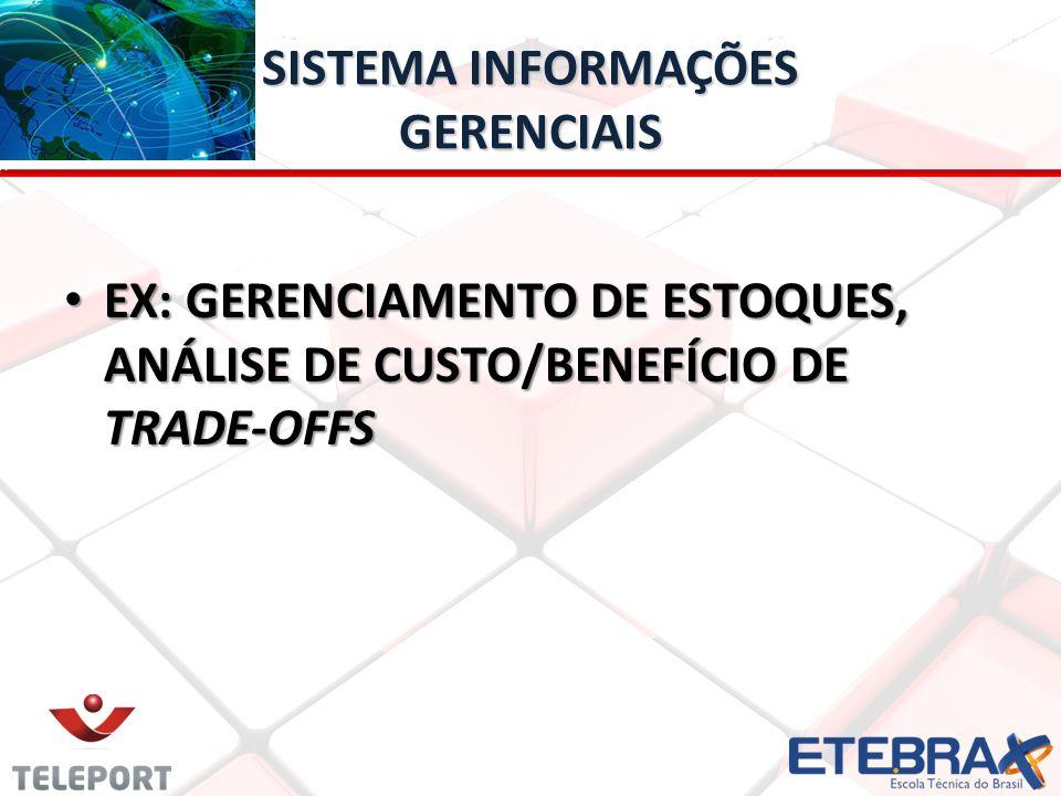 SISTEMA INFORMAÇÕES GERENCIAIS EX: GERENCIAMENTO DE ESTOQUES, ANÁLISE DE CUSTO/BENEFÍCIO DE TRADE-OFFS EX: GERENCIAMENTO DE ESTOQUES, ANÁLISE DE CUSTO/BENEFÍCIO DE TRADE-OFFS