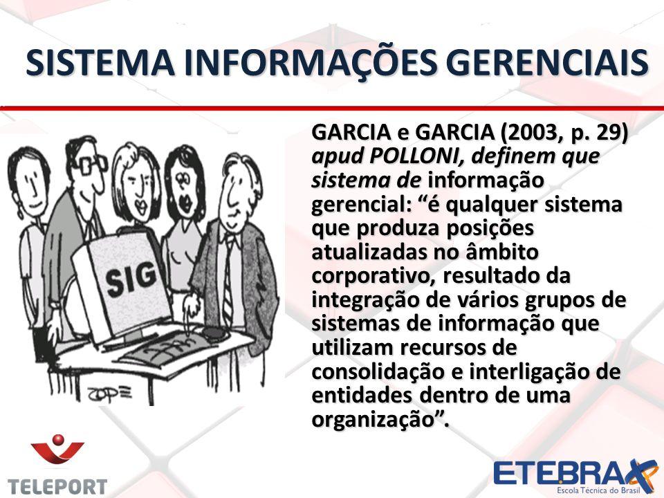 SISTEMA INFORMAÇÕES GERENCIAIS SISTEMA INFORMAÇÕES GERENCIAIS GARCIA e GARCIA (2003, p. 29) apud POLLONI, definem que sistema de informação gerencial: