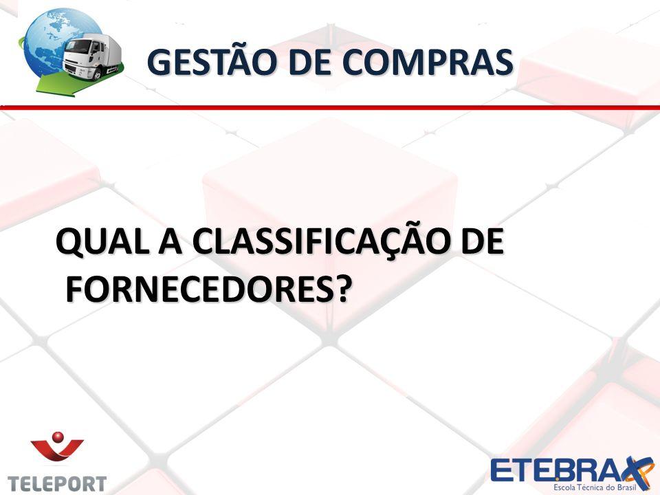 GESTÃO DE COMPRAS QUAL A CLASSIFICAÇÃO DE FORNECEDORES? QUAL A CLASSIFICAÇÃO DE FORNECEDORES?