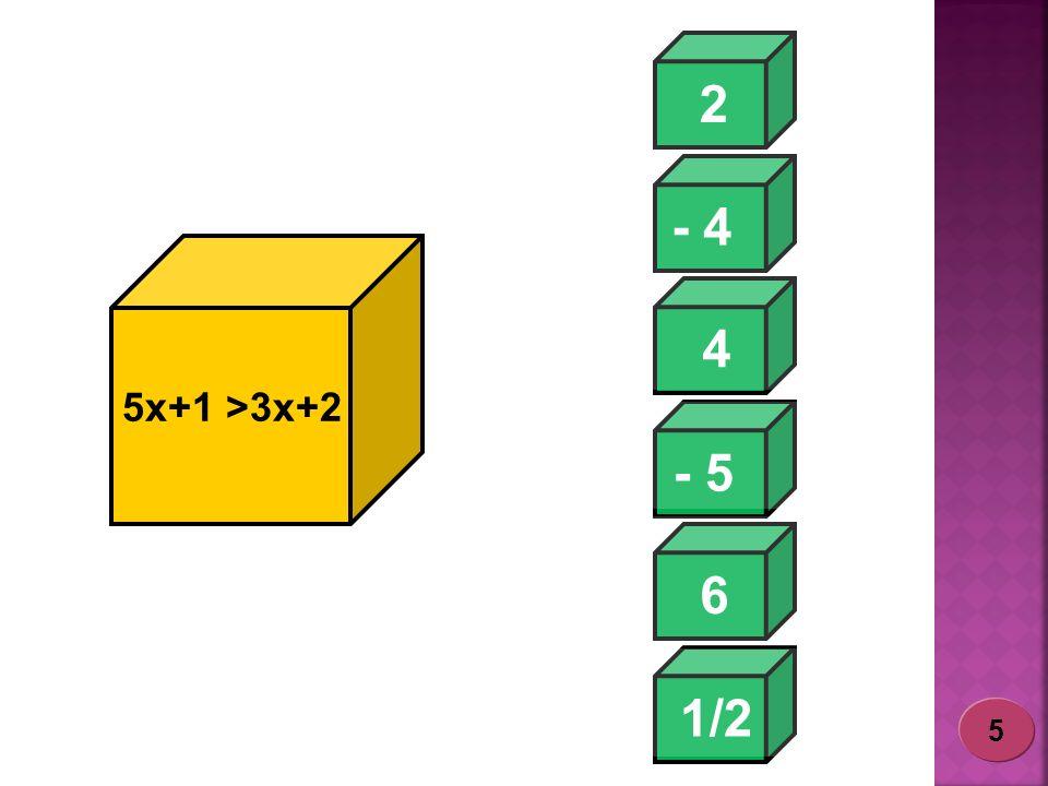 - 4 2 1/2 - 5 6 4 5x+1 >3x+2 5