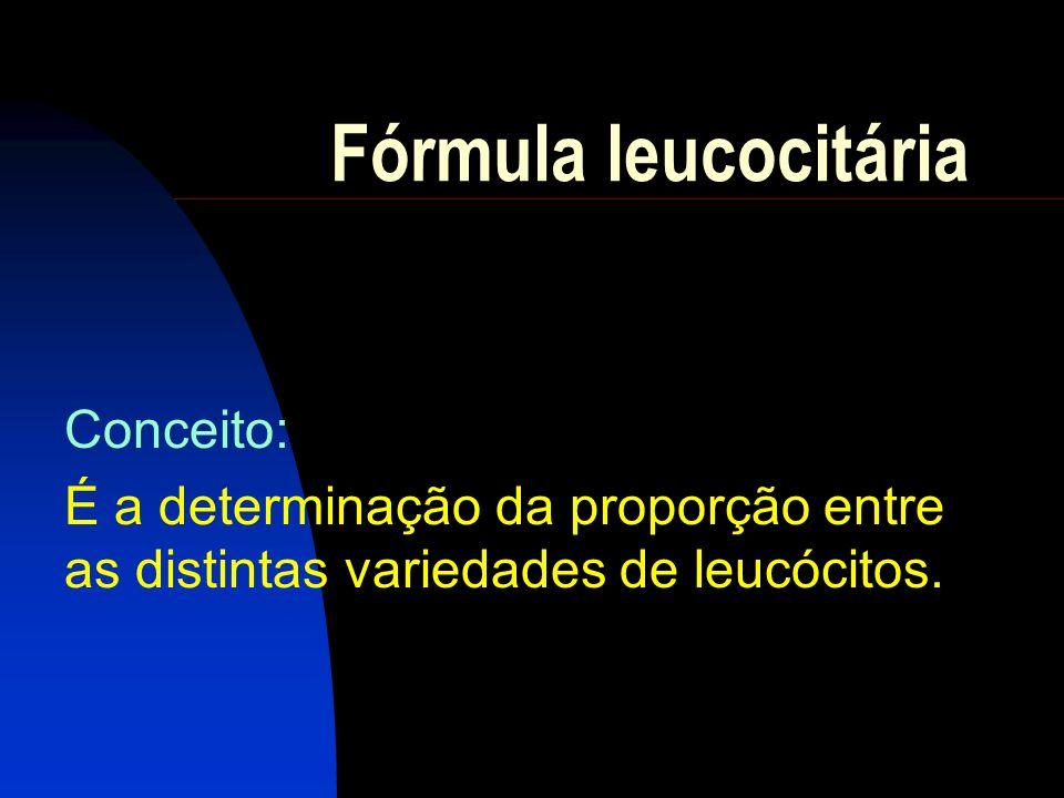 Fórmula leucocitária relativa Conceito: É a especificação percentual entre as distintas variedades de leucócitos.