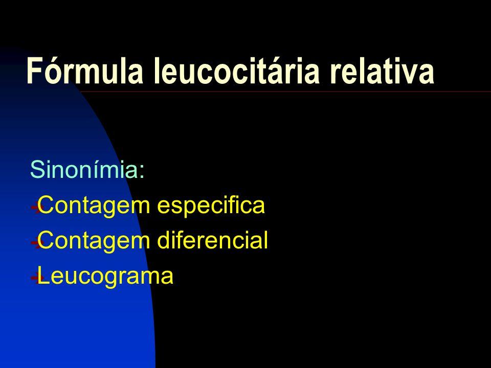 VALORES DE REFERÊNCIA – ADULTOo LEUCOGRAMA RELATIVA % ABSOLUTA ( l) LEUCÓCITOS - 4.500 A 10.000 Bastões 1 a 5 45 a 500 Segmentados 50 a 60 2.250 a 6.000 Neutrófilos totais 51 a 65 2.295 a 6.500 Eosinófilos 1 a 4 45 a 400 Basófilos 0 a 1 0 a 100 Linfócitos 20 a 33 900 a 3.300 Monócitos 2 a 8 90 a 800 VALORES DE REFERÊNCIA - I