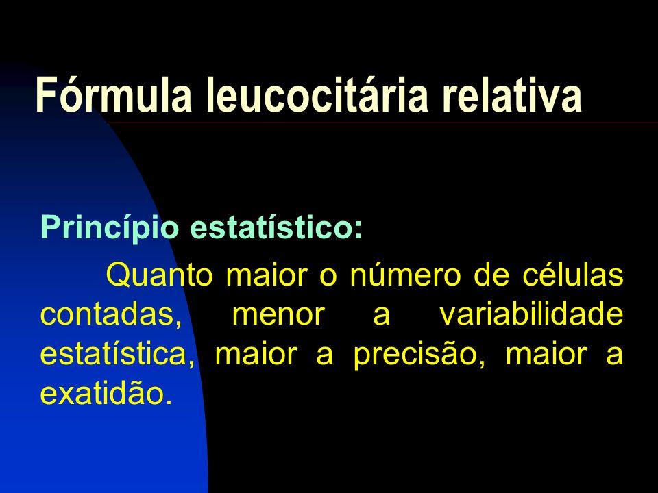 Fórmula leucocitária relativa A fórmula leucocitária relativa é realizada pelo exame microscópio do esfregaço sangüíneo corado, em objetiva de x100, fornecendo o número percentual de cada tipo de leucócito.