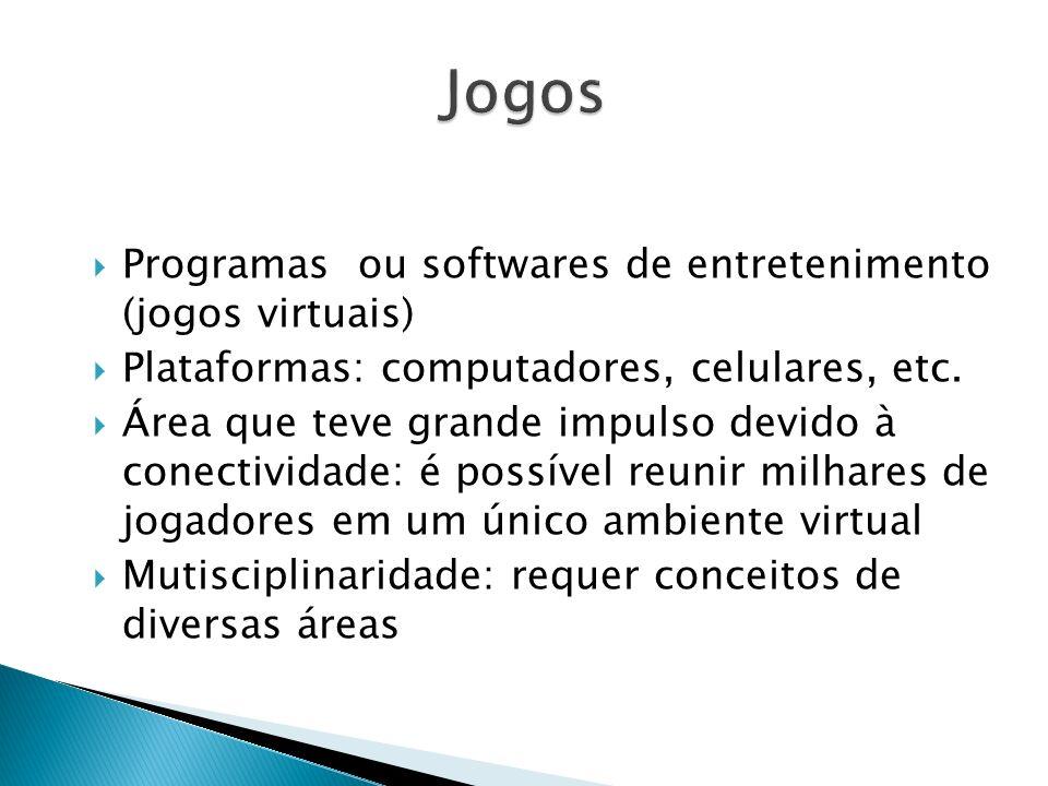 Programas ou softwares de entretenimento (jogos virtuais) Plataformas: computadores, celulares, etc. Área que teve grande impulso devido à conectivida
