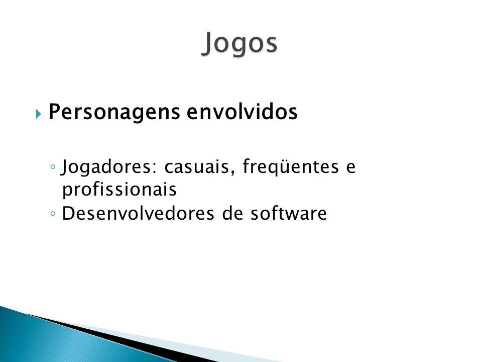 Personagens envolvidos Jogadores: casuais, freqüentes e profissionais Desenvolvedores de software